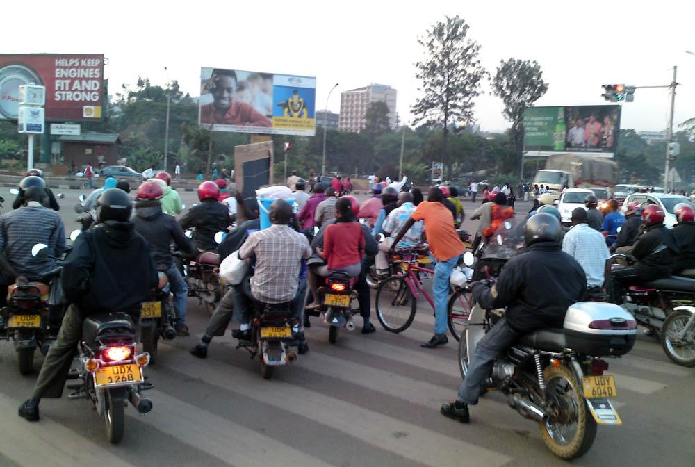 rush hour boda bodas Jinja Road Kampala