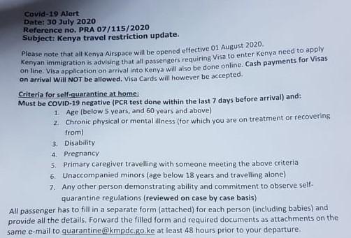 COVID-19 Kenya quarantine, visa update July 2020